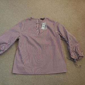 NWT express burgundy&white striped blouse